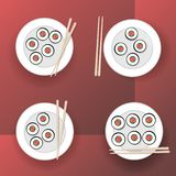 Sushi and rolls. With chopsticks on plates . Flat design Vector illustration royalty free illustration