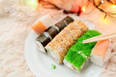 Sushi rolls Christmas Stock Photography