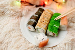 Sushi rolls Christmas Royalty Free Stock Photos