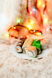 Sushi rolls Christmas Stock Images