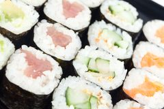Sushi rolls close-up Stock Image