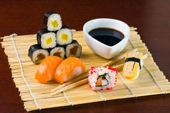 Sushi and Rolls closeup Royalty Free Stock Photography