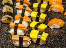 Sushi and Rolls closeup Stock Images