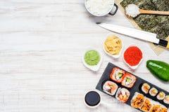 Sushi Rolls con Nori e lo spazio della copia Fotografie Stock Libere da Diritti