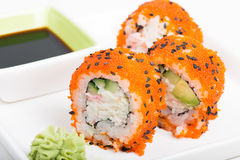 Sushi rolls with crab meat Royalty Free Stock Images