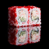 Sushi rolls with crab sticks and cucumber Royalty Free Stock Images