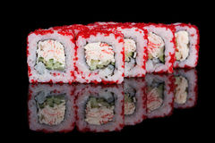 Sushi rolls with crab sticks and cucumber Stock Photo