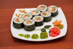 Sushi rolls with crabs meat Stock Photography