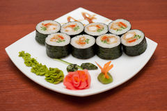 Sushi rolls with crabs meat Royalty Free Stock Photos