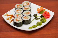 Sushi rolls with crabs meat Royalty Free Stock Images
