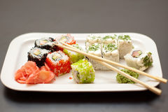 Sushi and rolls. Dish of Japanese cuisine with vasaby Stock Photos