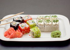 Sushi and rolls. Dish of Japanese cuisine with vasaby Royalty Free Stock Images