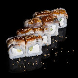 Sushi rolls with eel, cucumber and soft cheese Stock Photography