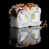 Sushi rolls with eel, cucumber and soft cheese Stock Photo