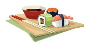 Sushi rolls flat food isolate on white background Stock Photos