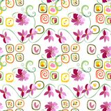 Sushi rolls and flowers. Sushi rolls and flowers seamless pattern. Vector illustration Royalty Free Stock Images