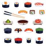 Sushi and rolls food vector icons. Sushi and rolls flat food and japanese seafood sushi rolls. Sushi rolls traditional seaweed fresh raw food. Asia cuisine Stock Image