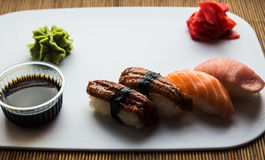 Sushi rolls ginger and wasabi Royalty Free Stock Photography