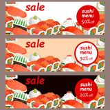 Sushi and rolls. Hand drawn elements. royalty free illustration