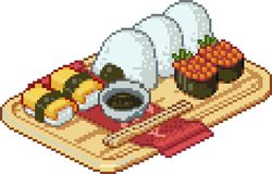 Set of sushi and rolls icons in pixel style Stock Photos