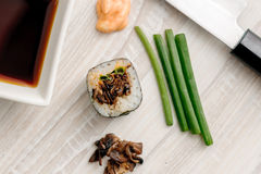 Sushi rolls with ingredients Royalty Free Stock Photo