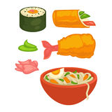 Sushi rolls and Japanese cuisine food snacks vector flat icons. Sushi rolls and Japanese cuisine food snacks, meal and sauces. Vector flat isolated icons of Royalty Free Stock Photography