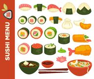 Sushi rolls and Japanese cuisine vector icons for restaurant menu royalty free illustration