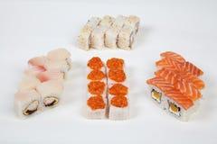 Sushi rolls Japanese food restaurant fish figure on a white background. 1 stock photo