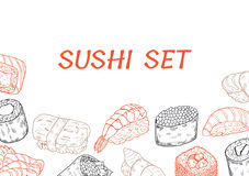 Sushi and rolls line poster vector illustration