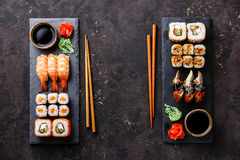 Sushi rolls, maki, nigiri Set served for two Stock Photography