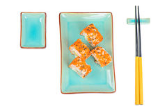 Sushi rolls with masago. Top view. Stock Photo