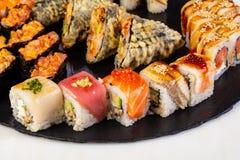 Sushi and rolls mix. Plate assortment set stock photo