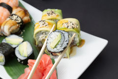 Sushi rolls and nigiri Royalty Free Stock Image