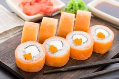 Sushi rolls philadelphia with caviar Royalty Free Stock Photos