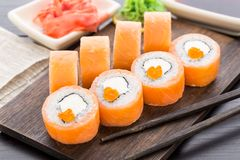 Sushi rolls philadelphia with caviar Stock Photography