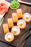 Sushi rolls philadelphia with caviar Stock Image