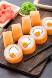 Sushi rolls philadelphia with caviar Royalty Free Stock Photography