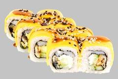 sushi rolls philadelphia cheese with eel philadelphia cheese cucumber cheddar cheese and unagi kabayaki sauce royalty free stock photos