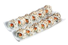 Sushi rolls philadelphia with clipping path Stock Images