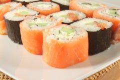 Sushi rolls Philadelphia with smoked salmon Royalty Free Stock Photos