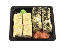 Sushi rolls in plastic container isolated on white closeup Royalty Free Stock Image