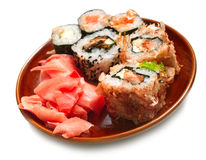 Sushi rolls in plate Stock Photography