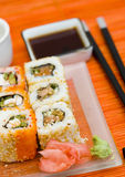 Sushi (rolls) on a plate Royalty Free Stock Photos
