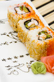 Sushi (rolls) on a plate Stock Photography