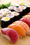 Sushi with Rolls on a Plate Royalty Free Stock Photos