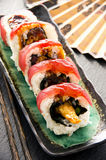 Sushi with Rolls on a Plate Royalty Free Stock Photo