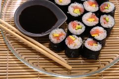 Sushi rolls on a plate Royalty Free Stock Photo