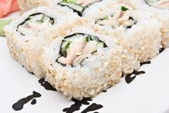 Sushi rolls on plate Stock Image