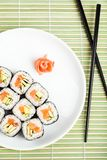 Sushi rolls on the plate. Top view Royalty Free Stock Photography