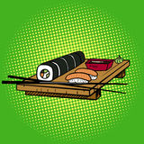 Sushi rolls pop art style vector Royalty Free Stock Photos